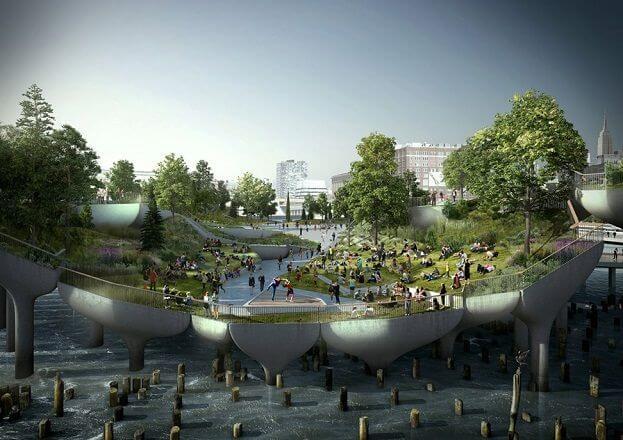 New York bouwt in Hudson een park op stelten